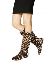 Blumarine | Multicolor Leopard Printed Pony Flat Boots | Lyst