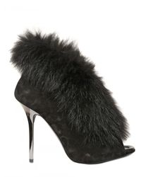 Diego Dolcini | Black 120 Mm Suede and Fox Fur Boots | Lyst