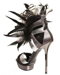 Diego Dolcini - Metallic 130mm Silk, Feather & Calfskin Sandals - Lyst
