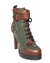 DSquared² - Green 130mm Washed Cotton Lace Up Low Boots - Lyst