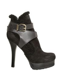 Fendi - Black 120mm Suede and Calfskin Low Boots - Lyst