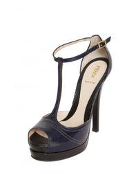 Fendi - Blue 125mm Brushed Calf Lizard Print Sandals - Lyst