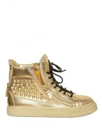 Giuseppe Zanotti - Metallic Laminated Calfskin and Studded High Top - Lyst