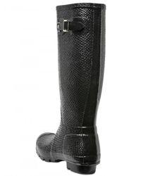 HUNTER - Black Snake Print Boots - Lyst