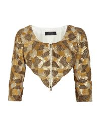 Robert Rodriguez | Metallic Embellished Cropped Silk Jacket | Lyst