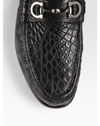Ferragamo | Black Giostra Alligator Moccasins for Men | Lyst