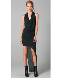 Helmut Lang | Black Long Drape Dress | Lyst