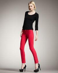 J Brand | 811 Mid-rise Skinny Twill Jeans, Shocking Pink | Lyst