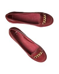 Jigsaw - Red Chain Suede Heeled Loafers - Lyst