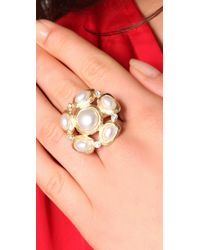 Kenneth Jay Lane - White Pearl Cluster Ring - Lyst