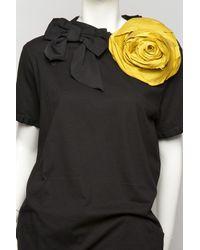 Lanvin | Black Flower Brooch T-shirt | Lyst
