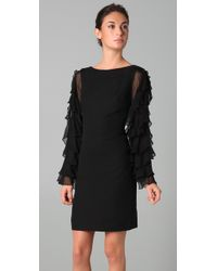 Notte by Marchesa - Black Chiffon Shift Dress with Ruffle Sleeves - Lyst