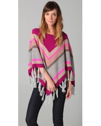 Rebecca Taylor | Multicolor Striped Cashmere-blend Tasseled Poncho | Lyst
