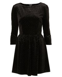 TOPSHOP | Black Glitter Spot Velvet Dress | Lyst