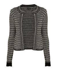 TOPSHOP - Black Knitted Bead Trim Jacket - Lyst