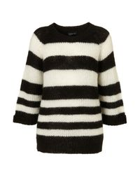 TOPSHOP - Black Knitted Stripe Mohair Jumper - Lyst