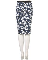 TOPSHOP - Blue Rabbit Print Pencil Skirt - Lyst
