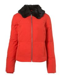 TOPSHOP | Red Faux Fur Collar Padded Jacket | Lyst