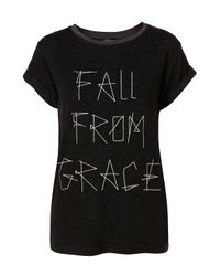 TOPSHOP | Gray Fall From Grace Logo Tee | Lyst
