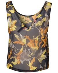 TOPSHOP - Blue Autumn Leaves Silk Blouse By Boutique - Lyst