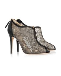 Valentino | Black Crystal-embellished Lace Peep-toe Sandals | Lyst