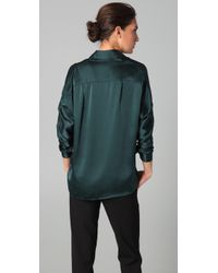 VINCE | Green Satin Tuck Shirt | Lyst