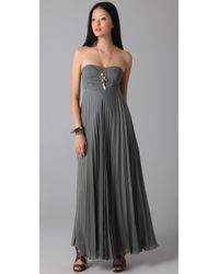 Willow - Gray Corset Pleated Maxi Dress - Lyst