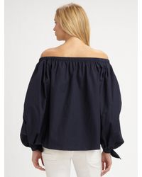 Saint Laurent | Blue Off-the-shoulder Cotton Blouse | Lyst