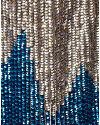 ASOS Collection - Blue Asos Petite Sequin Wrap Front Dress - Lyst