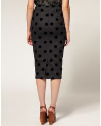 ASOS Collection | Gray Asos Curve Pencil Skirt in Flock Spot | Lyst
