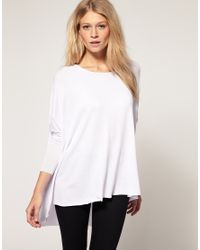 ASOS | White Loose Drape Long Sleeve Top | Lyst