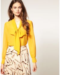 ASOS Collection | Yellow Asos Georgette Pussybow Blouse | Lyst
