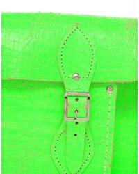 Cambridge Satchel Company | Exclusive To Asos 11 Green Fluro Cracked Leather Satchel | Lyst