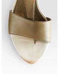 Derek Lam - Green Mirte Leather T-strap Wedge Sandals - Lyst