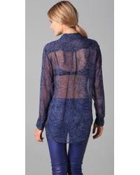 Equipment | Blue Sheer Python Signature Blouse | Lyst