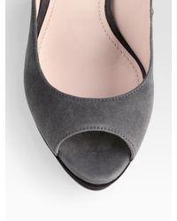 Prada | Gray Bi-color Suede Mary Jane Wedges | Lyst
