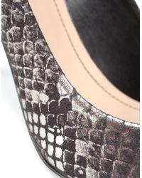 Zara | Silver Laminated Python Court Shoe | Lyst