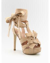 Dior | Pink Ingenue Suede Bow T Strap Sandals | Lyst