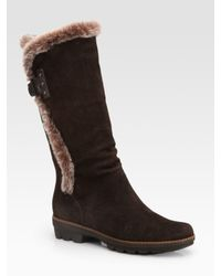 Aquatalia | Brown Shearling & Suede Mid-calf Boots | Lyst