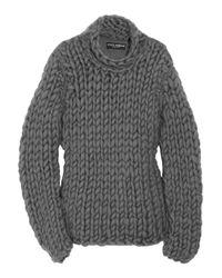 Dolce & Gabbana | Gray Chunky-knit Cotton-blend Sweater | Lyst