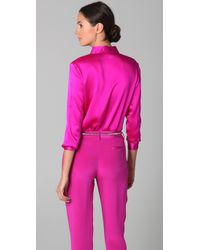 Jenni Kayne - Pink Fuschia Satin Shirt - Lyst