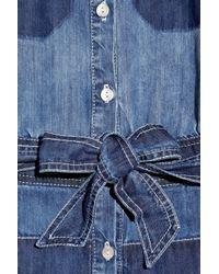 See By Chloé - Blue Stripe Knit Trim Denim Romper - Lyst