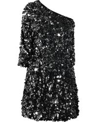 Tibi | Black One-shoulder Sequined Silk Dress | Lyst