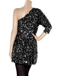 Tibi - Black One-shoulder Sequined Silk Dress - Lyst