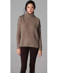 VINCE | Brown Honeycomb Turtleneck Sweater | Lyst