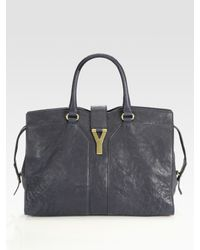 Saint Laurent | Blue Ysl Cabas Chyc Leather Medium East West Satchel | Lyst