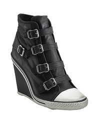 Ash | Black Thelma Leather Wedge Buckle Trainer | Lyst