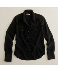 J.Crew | Black Blythe Blouse in Silk | Lyst