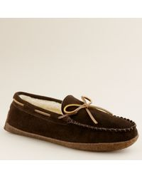 J.Crew | Brown Fleece-lined Suede Slippers for Men | Lyst