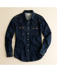 J.Crew | Blue Indigo Denim Western Shirt for Men | Lyst